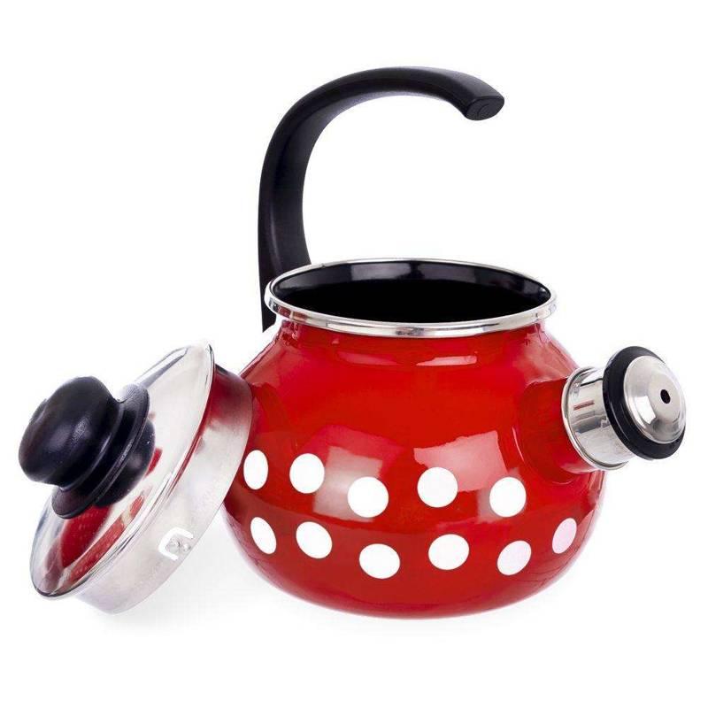 ORION Enamel kettle RED POLKA DOT 1,75L