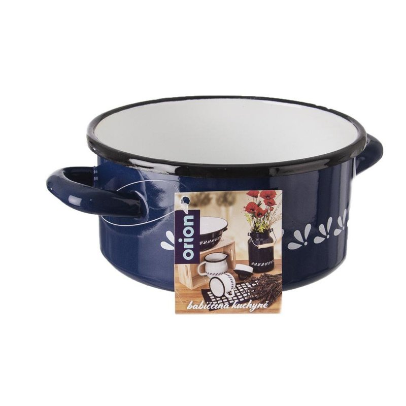 ORION Pot saucepan enamel pot 16cm 1,5L BLUE