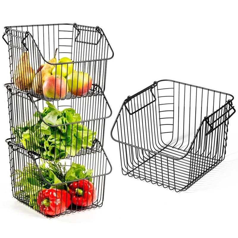 VILDE Fruit and vegetable basket, metal, black, stacking, stand, bowl LOFT 29x27x21 cm, 1 pcs.