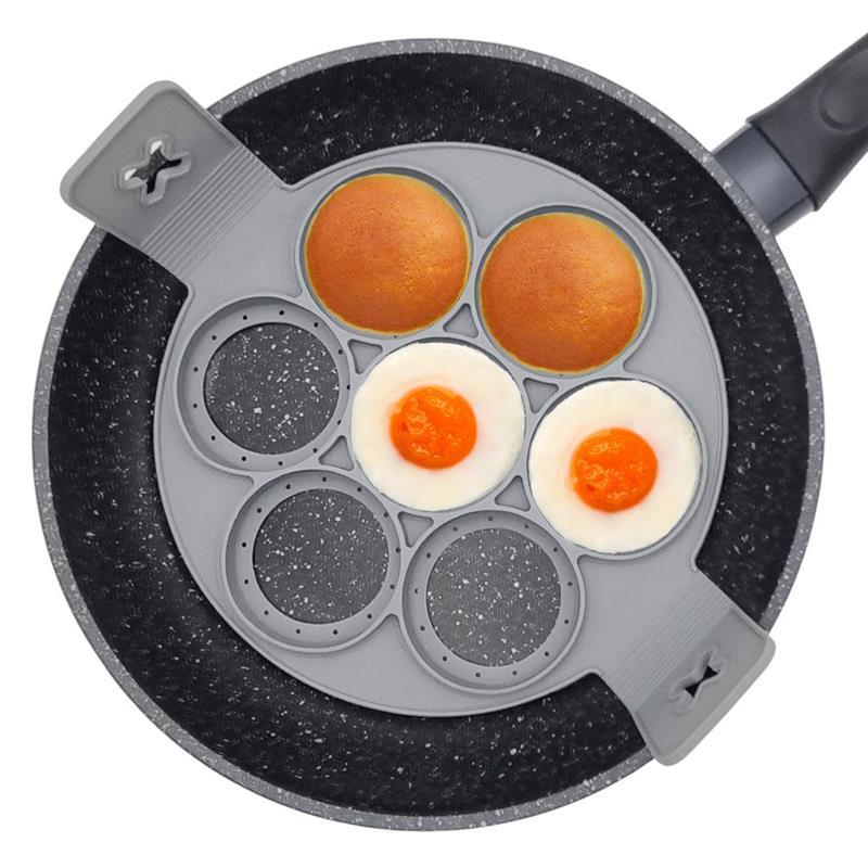 ORION Silikonform für Spiegeleier SPIEGELEIFORM Pfannkuchenform RUND mit 7 Löchern für Pancakes