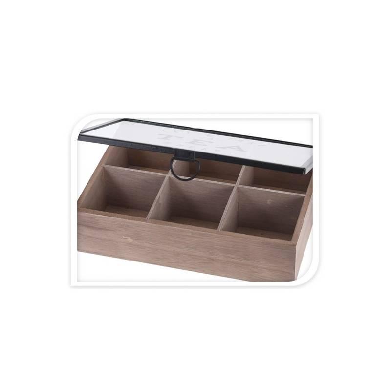 ORION Aufbewahrungsbox für Teebeutel / Teebox / Teekiste aus Holz mit 6 Fächern
