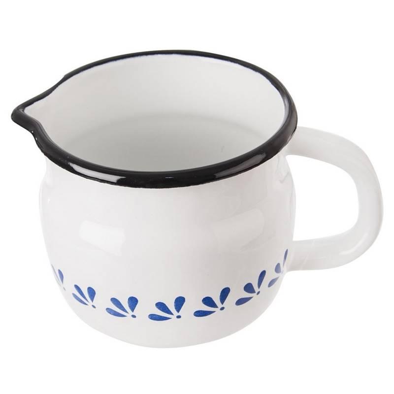 ORION Emaille-Becher / emaillierte Tasse mit Henkel RETRO 10 cm 0,8l