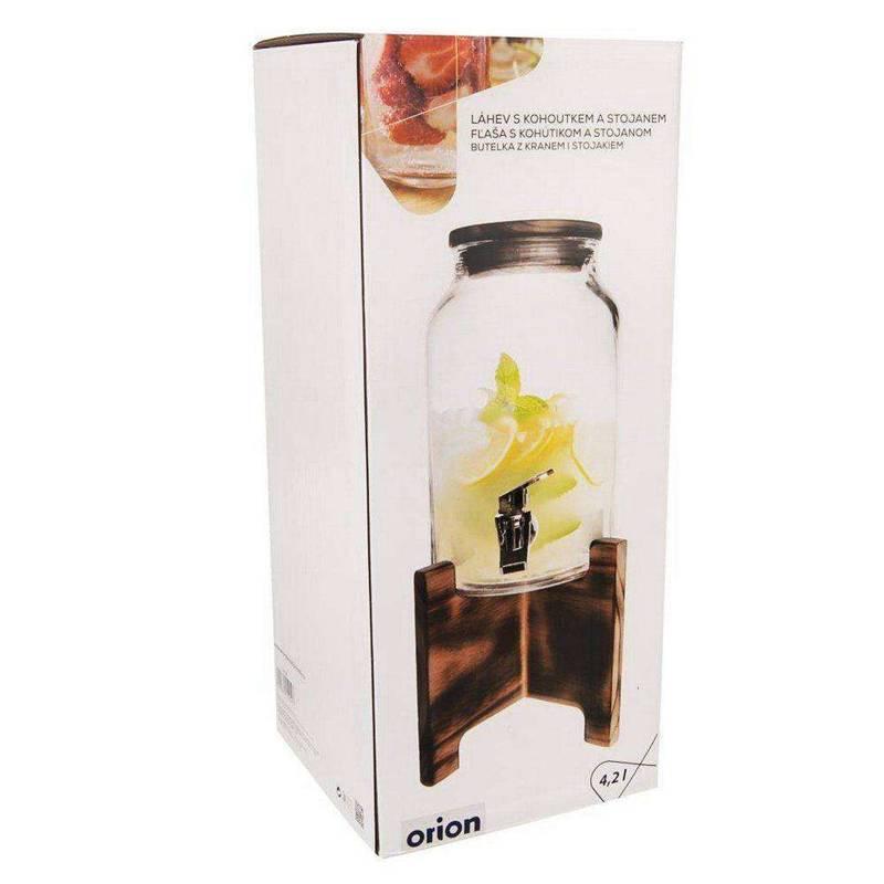 ORION Getränkespender Glas Zapfhahnflasche mit Zapfhahn Gläser Trinkgläser 4,2 L