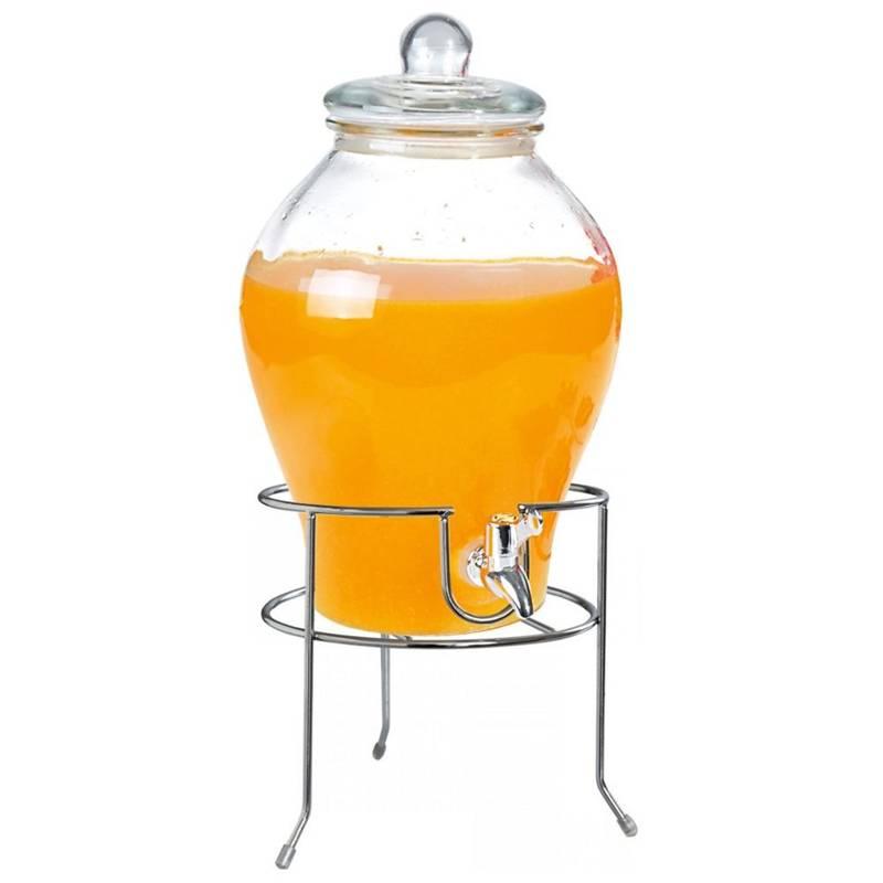 ORION Getränkespender Glas Zapfhahnflasche mit Zapfhahn Gläser Trinkgläser 6,5 L