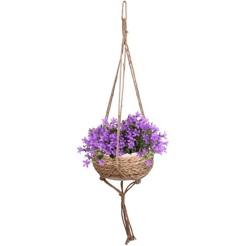 ORION Hängetopf BLUMENAMPEL Übertopf für Pflanzen Blumen GEFLOCHTEN 34x17 cm