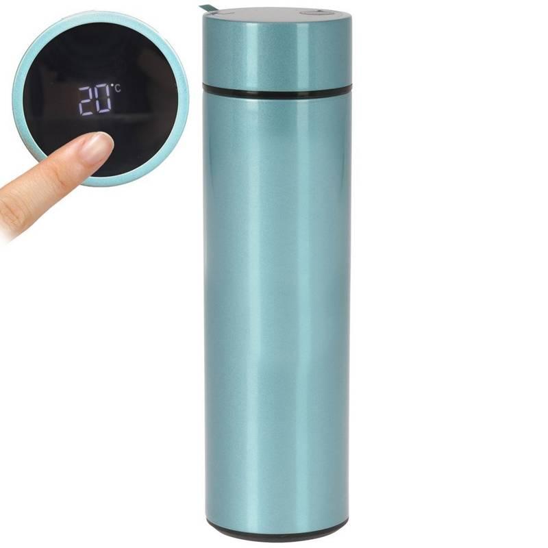 ORION Isolierflasche Thermosflasche Trinkflasche aus Stahl mit Thermometer 0,45l BLAU
