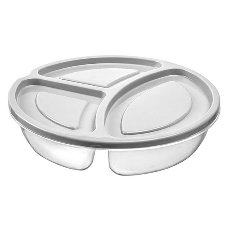 ORION Lebensmittelbehälter Lunchbox RUND mit 3 Fächern 0,6l