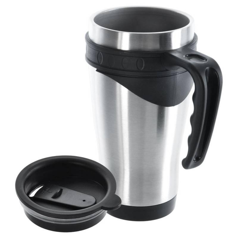 ORION Thermobecher aus Stahl / Isolierbecher mit Griff 0,45l Thermosflasche