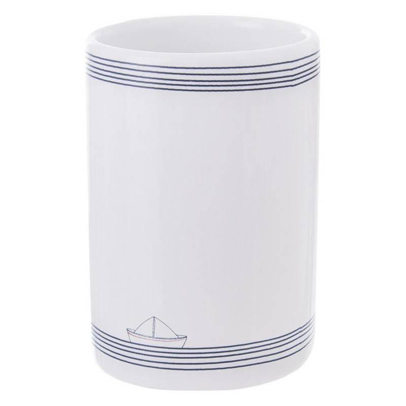 ORION Zahnputzbecher ZAHNBÜRSTENHALTER Behälter für Zahnbürsten MARINE aus Keramik für Badezimmer