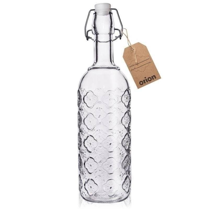 Butelka SZKLANA zdobiona na alkohol wino nalewkę likier syrop z korkiem klipsem 0,75L