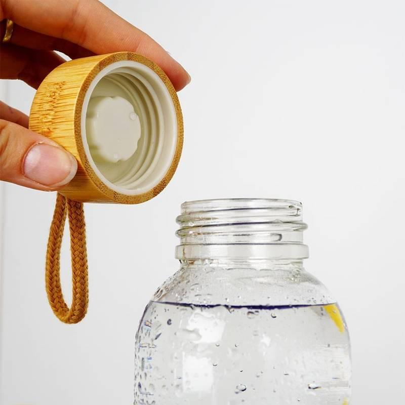 Butelka szklana silikonowa, bidon na wodę, sok, lemoniadę, smoothie, koktajl, 0,5 l, biała