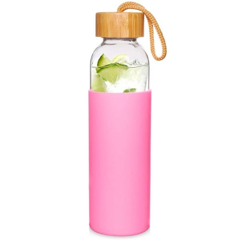 Butelka szklana silikonowa, bidon na wodę, sok, lemoniadę, smoothie, koktajl, 0,5 l, różowa