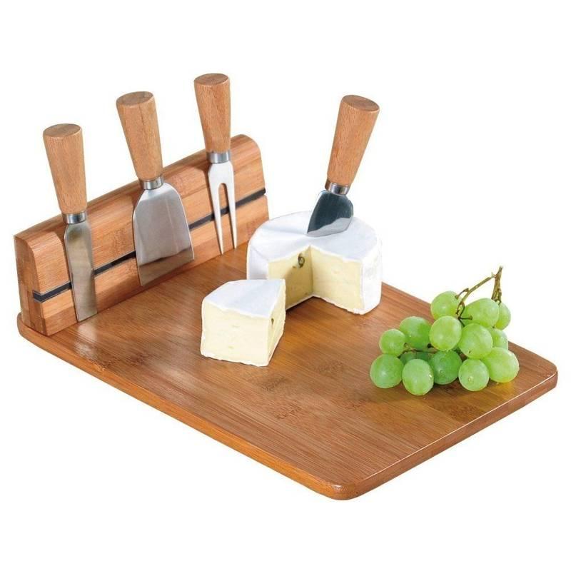 Deska do serów bambusowa + 4 noże do sera
