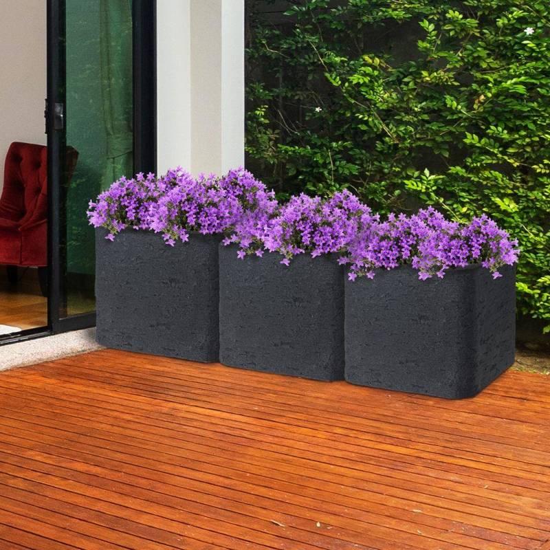 Doniczka, duża, donica kwadratowa ogrodowa, zewnętrzna, szara, 50x50x40 cm