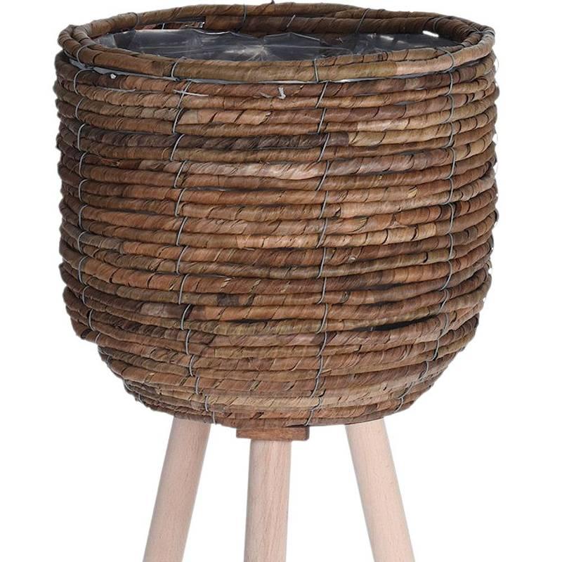 Doniczka, osłonka, kwietnik pleciony na stojaku, drewnianych nogach, 30x60 cm