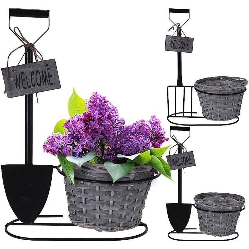 Doniczka, osłonka na metalowym stojaku, kwietnik na rośliny, zioła