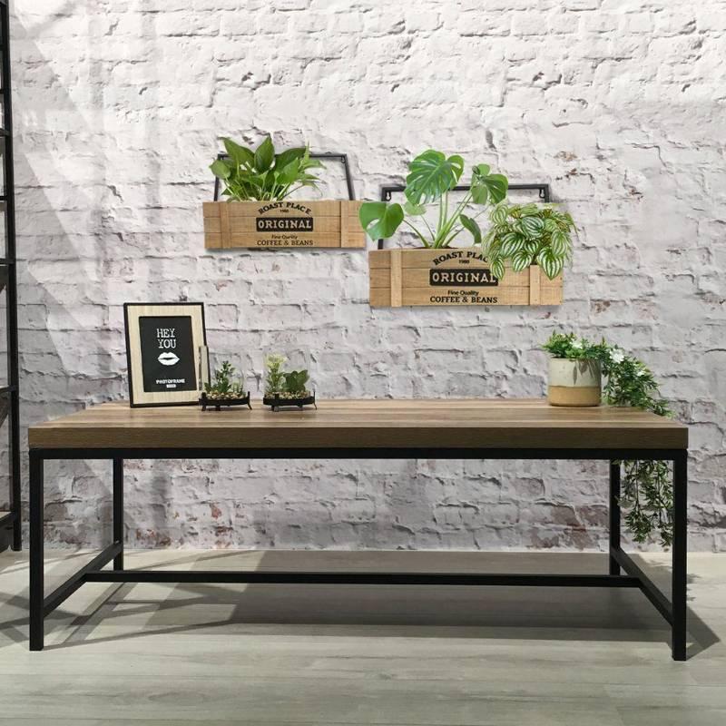 Doniczka, osłonka, skrzynka drewniana w metalowej ramie, zawieszana na ścianę, na rośliny, zioła, 47,5 cm