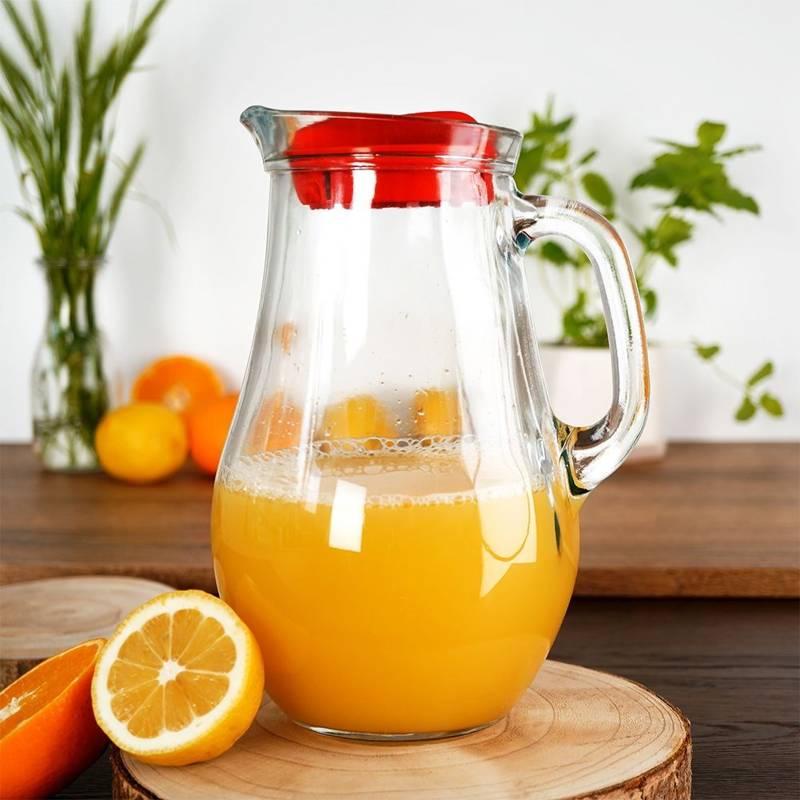 Dzbanek szklany do wody kompotu napojów lemoniady z uchwytem i pokrywką 2,1L