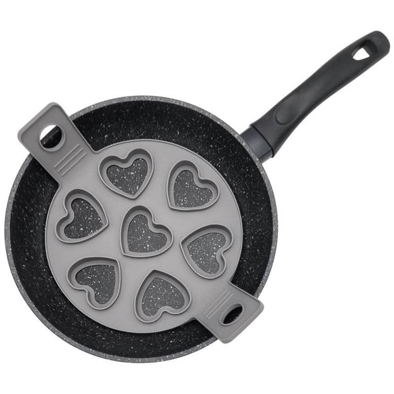 Forma silikonowa na patelnię, do jajek sadzonych, na jajka, naleśniki, pancake, placki, serca, 7 sztuk