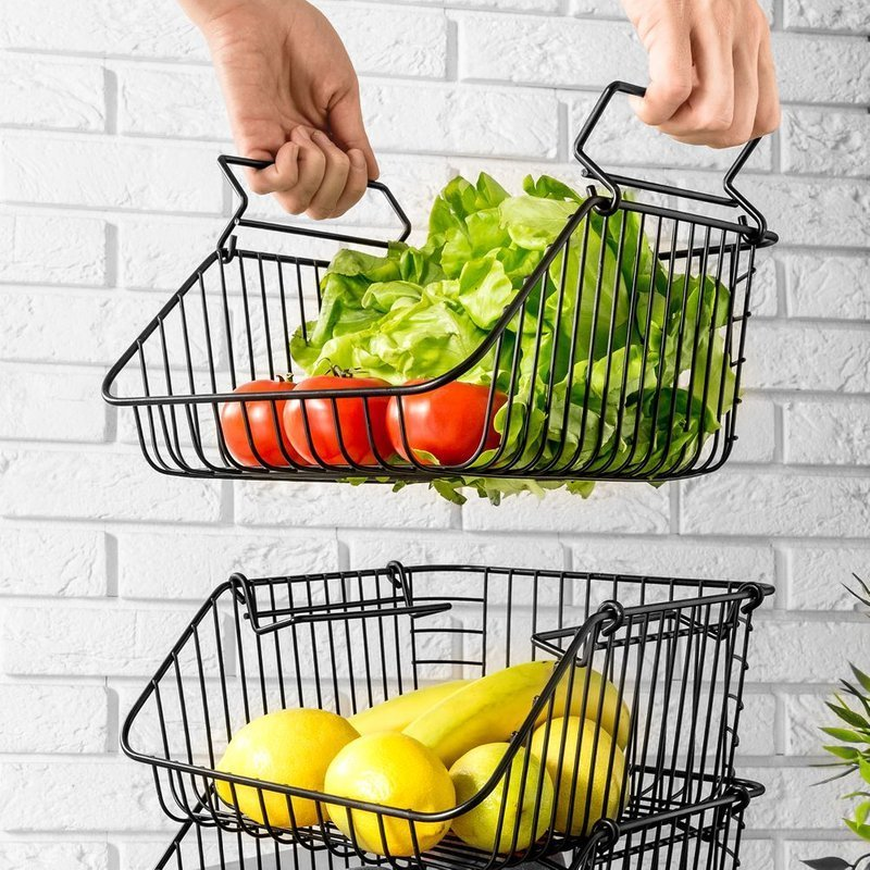 Koszyk na owoce i warzywa, metalowy, czarny, piętrowy, do piętrowania, 29x24x14 cm, zestaw 3 szt.
