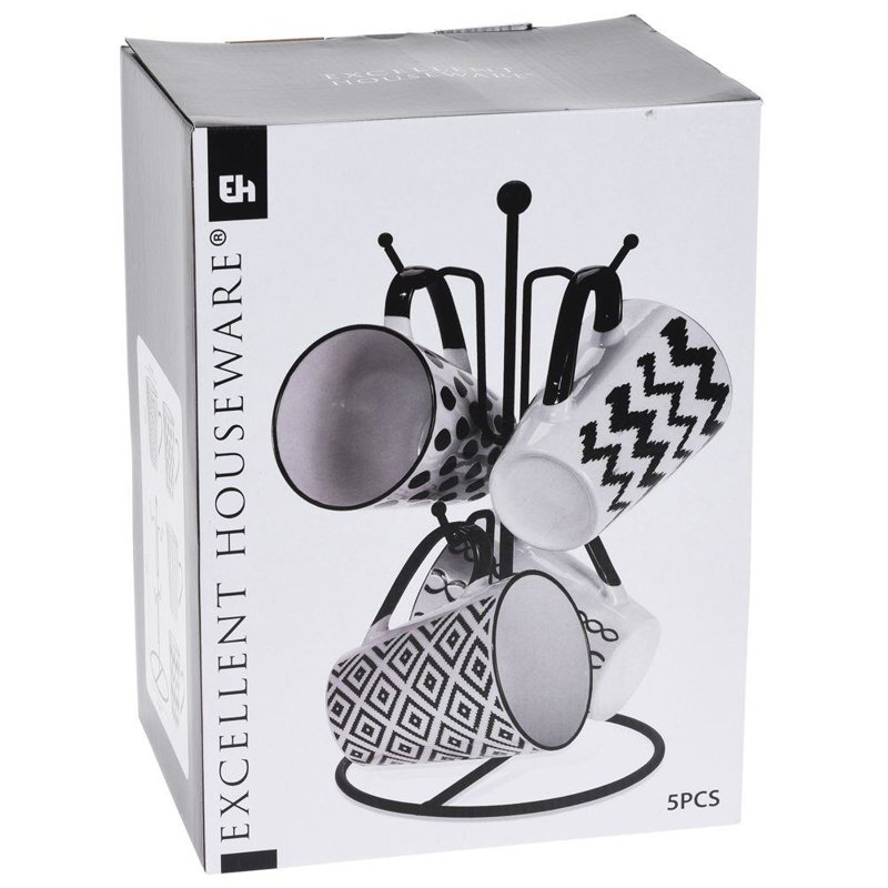 Kubek ceramiczny / zestaw kubków na stojaku wieszaku 4x 300 ml