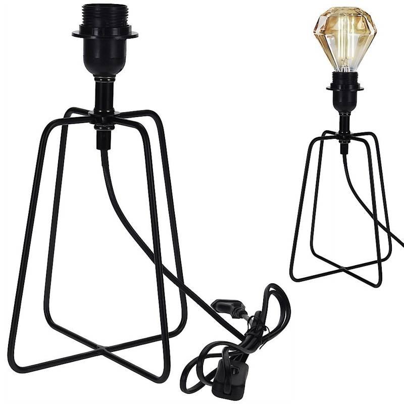 Lampka, lampa metalowa, czarna, stołowa, na biurko, komodę, stolik nocny, loft