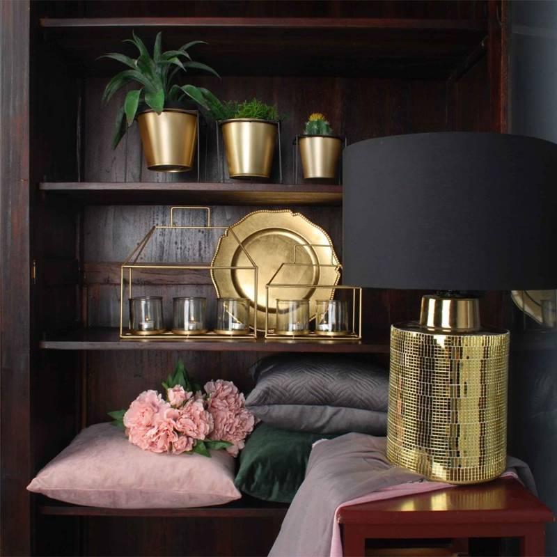 Osłonka DONICZKA metalowa na stojaku czarna złota 16x16 cm