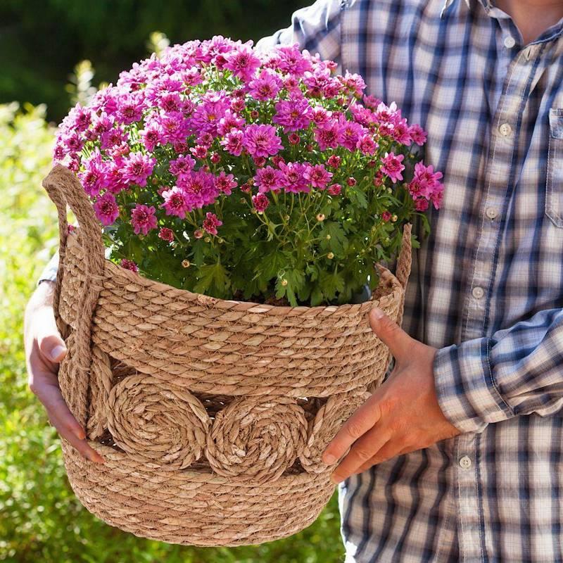 Osłonka, donica, doniczka, kosz boho, koszyk pleciony z trawy morskiej na doniczkę, rośliny, do przechowywania, 28x22 cm