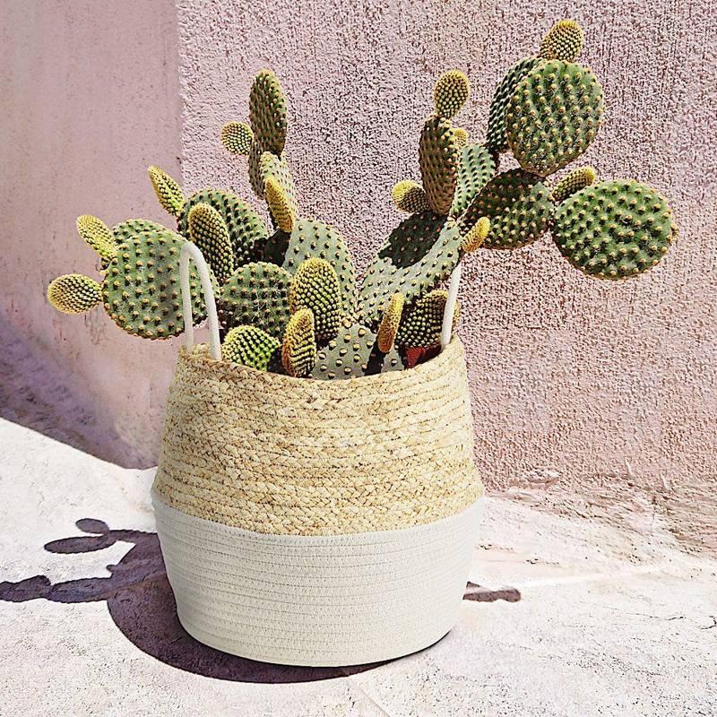 Osłonka, donica, kosz boho, biały, pleciony, na doniczkę, kwiaty, rośliny, 40x32 cm