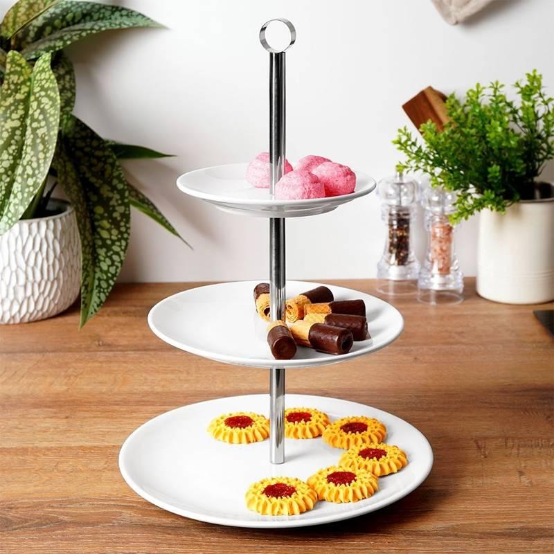 Patera PORCELANOWA 3-piętrowa poziomowa porcelanowa na ciastka ciasto owoce desery