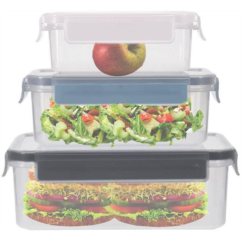 Pojemnik do żywności z pokrywką, uszczelką, z klipsami, zestaw, komplet pojemników kuchennych, 3 sztuki