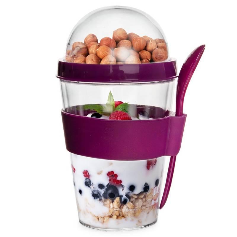Pojemnik kubek na jogurt sałatkę z łyżeczką