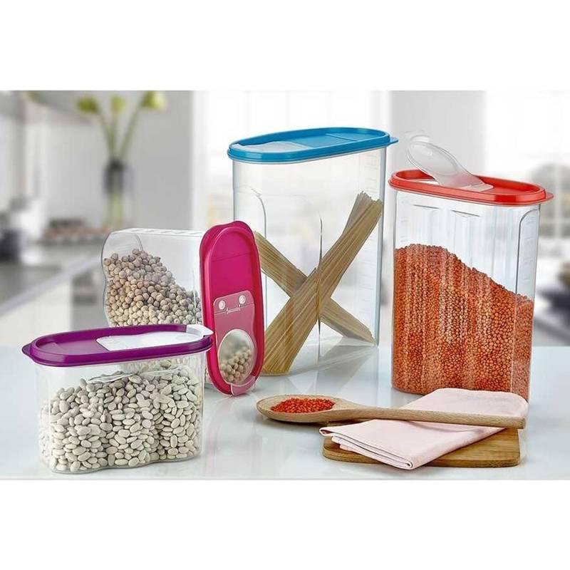 Pojemnik kuchenny na żywność płatki kasze makaron mąkę cukier produkty sypkie z dozownikiem i miarką 4L
