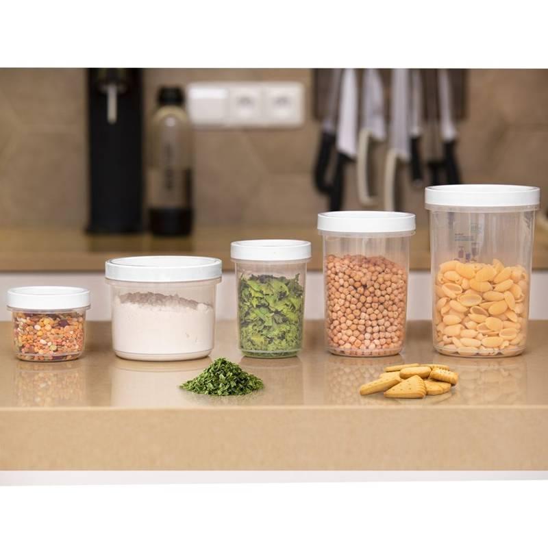 Pojemnik kuchenny, okrągły, do żywności, z pokrywką, uszczelką, zakręcany, 1 l, na zupę, sałatkę