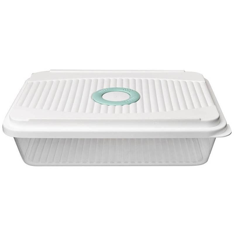 Pojemnik kuchenny, płaski, do żywności, z pokrywką, 3,5 l, na wędliny, ser, ciasto