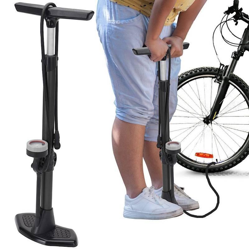 Pompka wysokociśnieniowa, stojąca, podłogowa, z manometrem, rowerowa, do roweru, auta, motoru, 68 cm