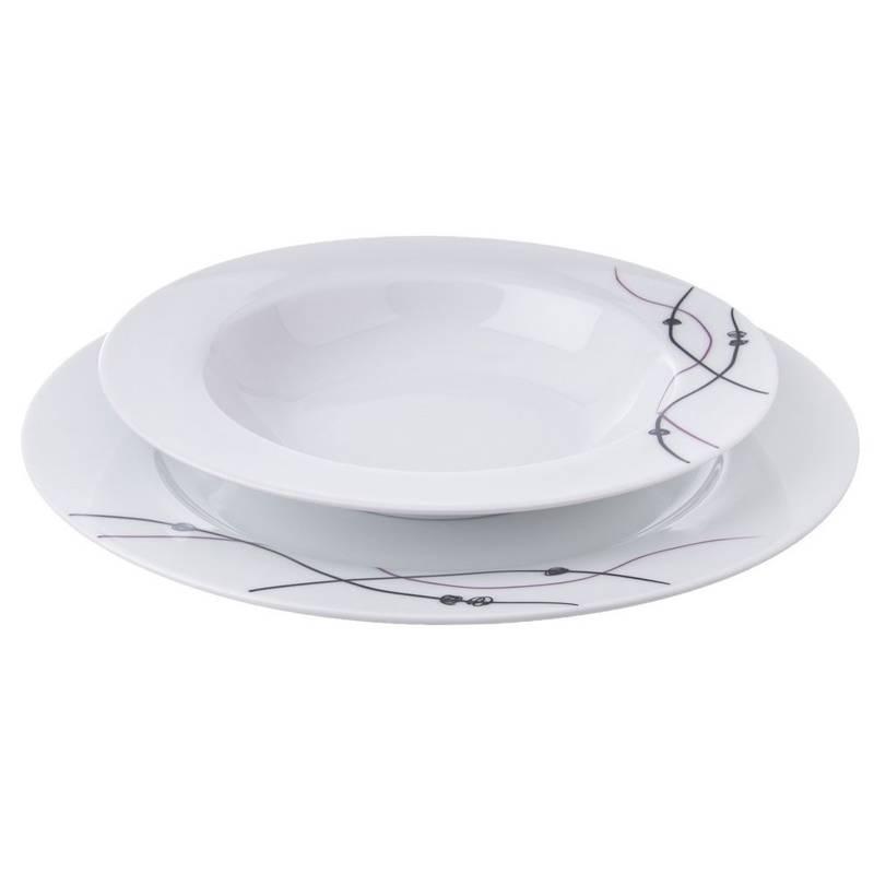 Serwis obiadowy, okrągły, porcelanowy, zestaw talerzy, komplet, 18 el.