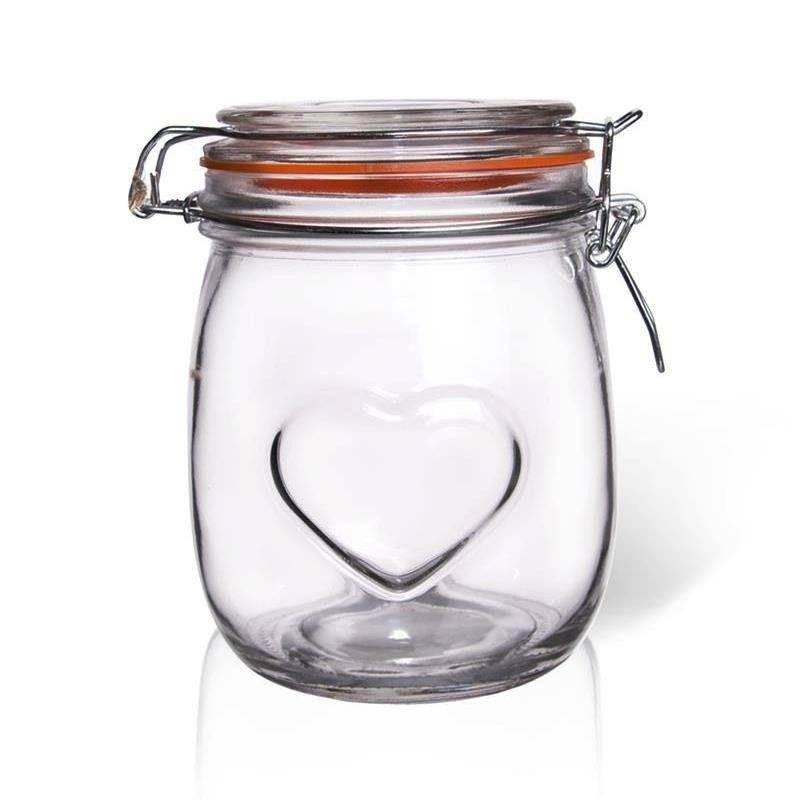 Słoik / pojemnik szklany patentowy BELA 0,75 SERCE