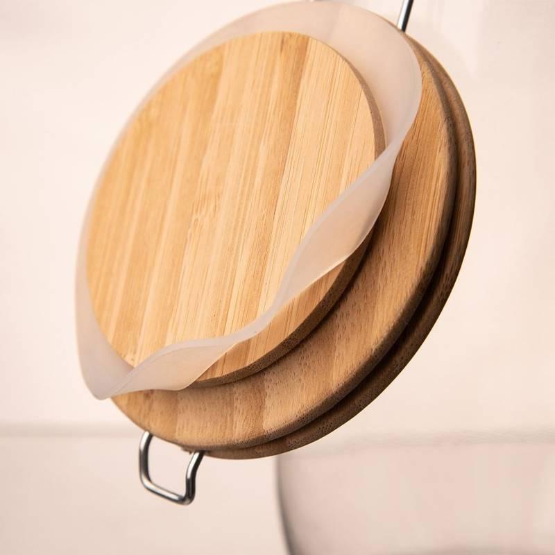 Słoik, pojemnik szklany patentowy z klipsem, 1,6 l, pokrywka bambusowa