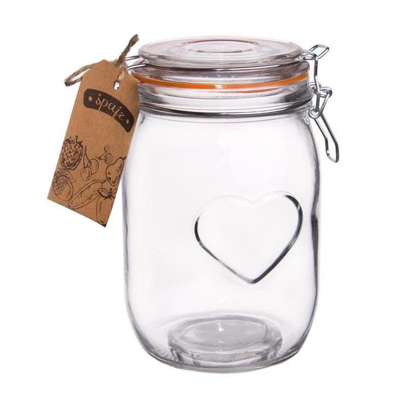 Słoik pojemnik szklany patentowy z klipsem BELA 1L SERCE
