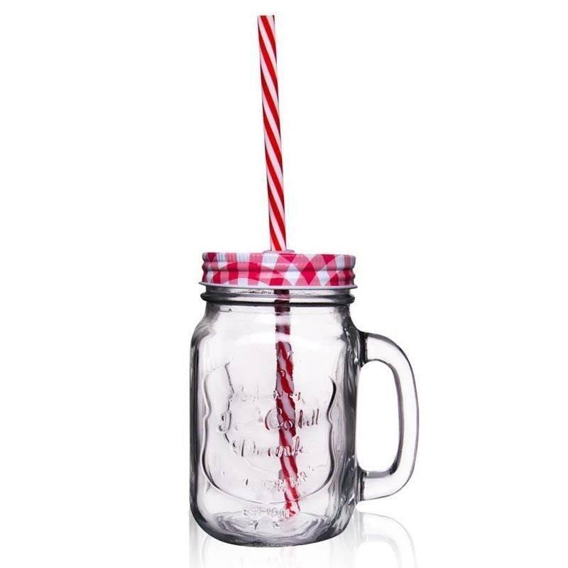 Słoik z uchem ze słomką kubek szklanka 0,45l