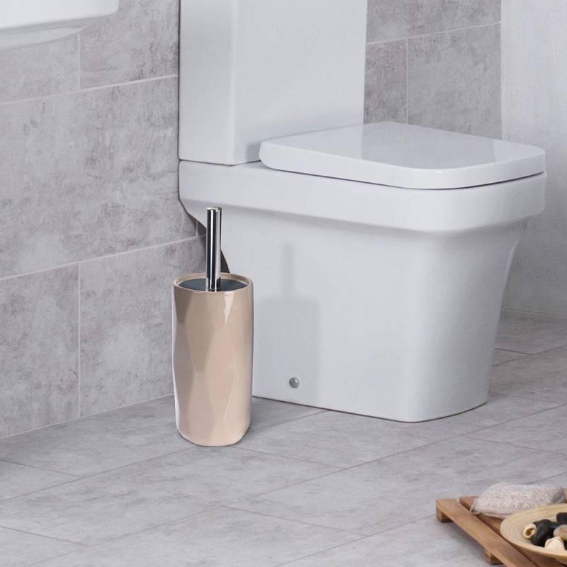 Szczotka łazienkowa, do toalety, WC, łazienki, ceramiczna + pojemnik, z pojemnikiem, beżowa