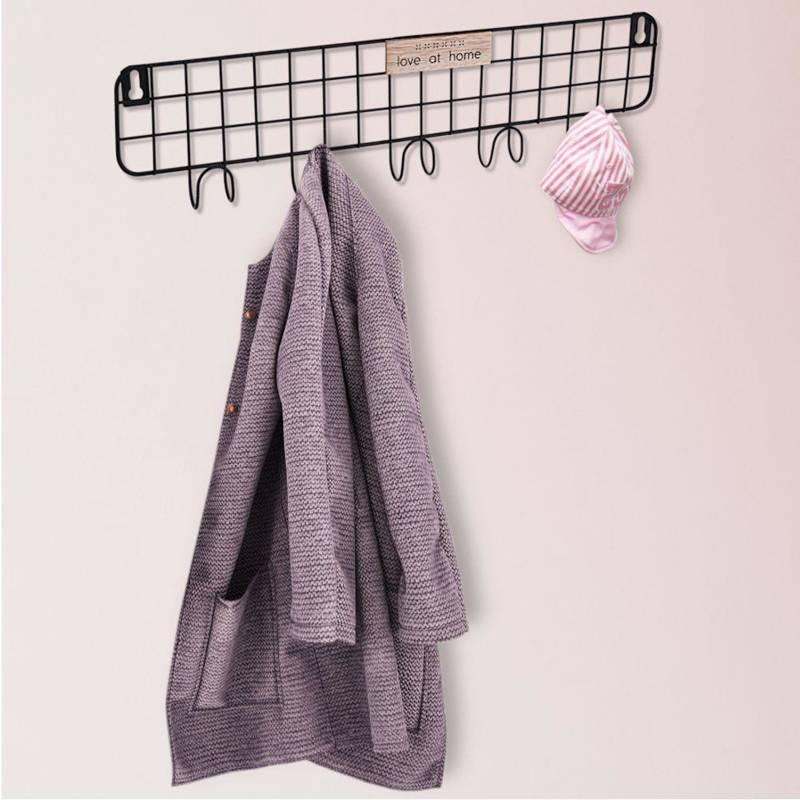 Wieszak metalowy, czarny, na ubrania, odzież, szlafroki, ręczniki, łazienkowy, do przedpokoju