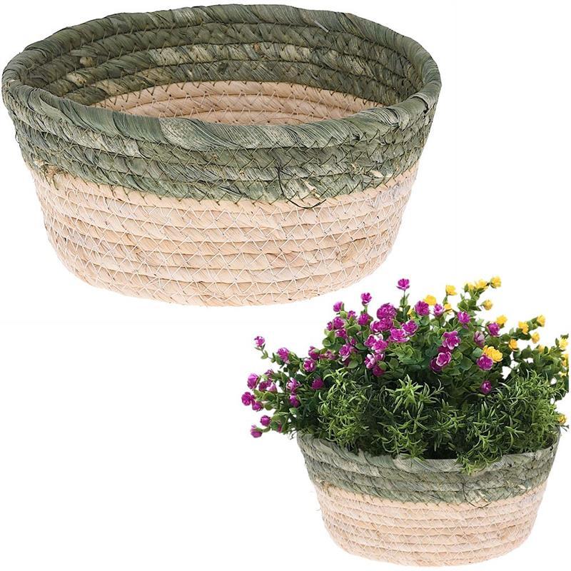 Coș, coș de depozitare din iarbă de mare, pentru obiecte mici, cosmetice, capac de ghiveci, plante, 21x8 cm
