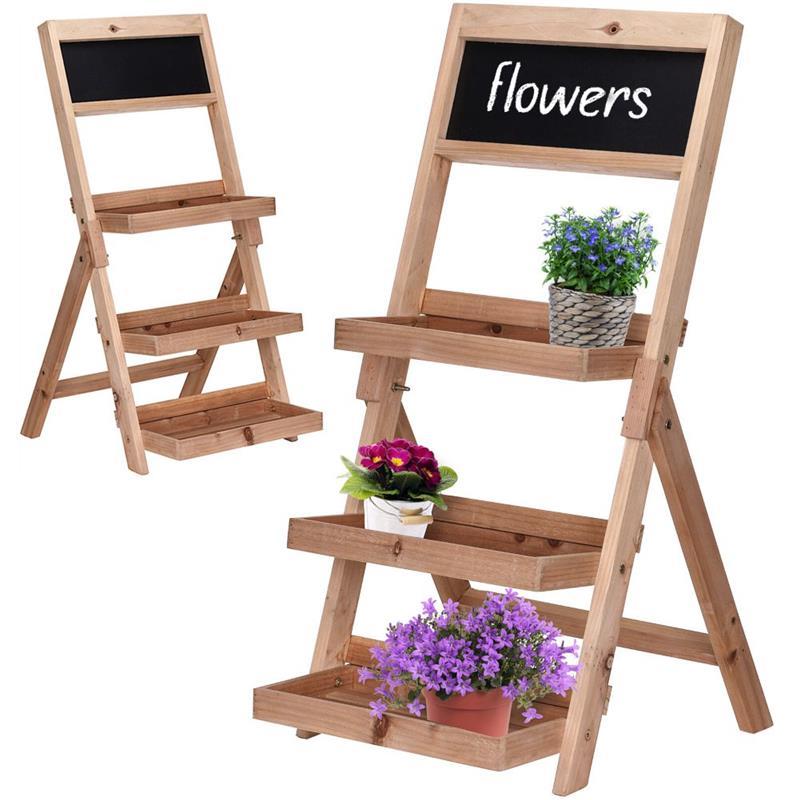 Pat de flori, suport, bibliotecă, scară, cu 3 niveluri, în trepte, pentru flori, ierburi, plante, ghivece