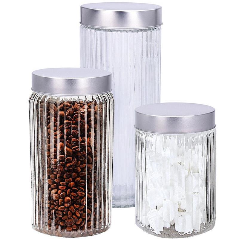 Recipient de sticlă pentru bucătărie, borcan, borcan, paste, cereale, cafea, produse uscate, set, set de recipiente, 3 bucăți