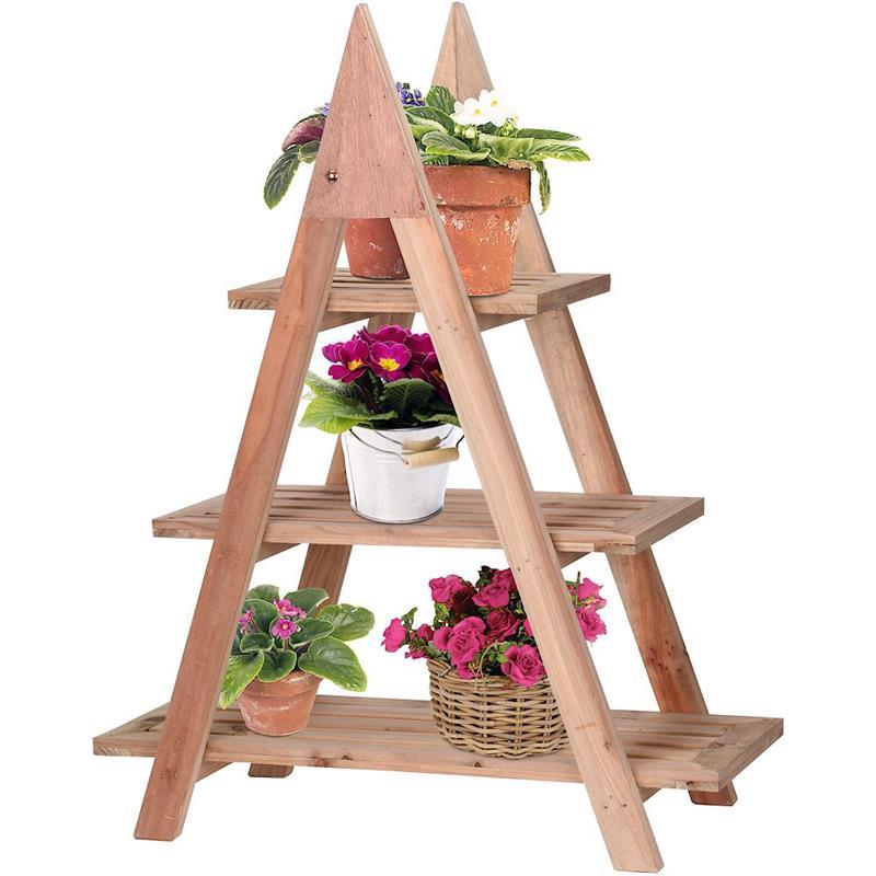Suport de flori din lemn, raft, scară cu 3 nivele, în trepte, pentru flori, ierburi, plante, ghivece
