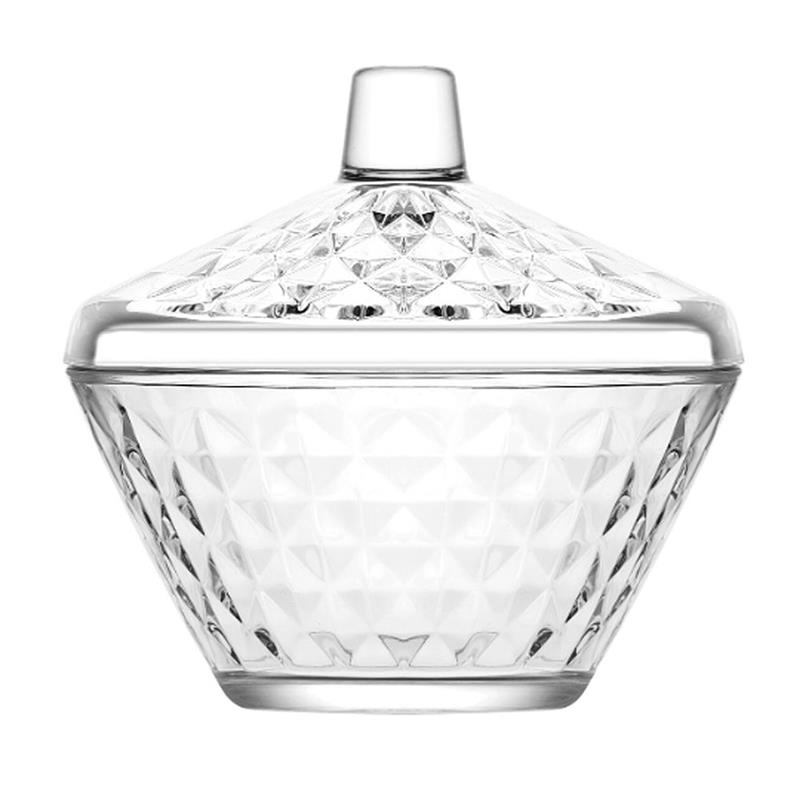 Zaharniță, zaharniță de sticlă, recipient de zahăr cu capac, 330 ml