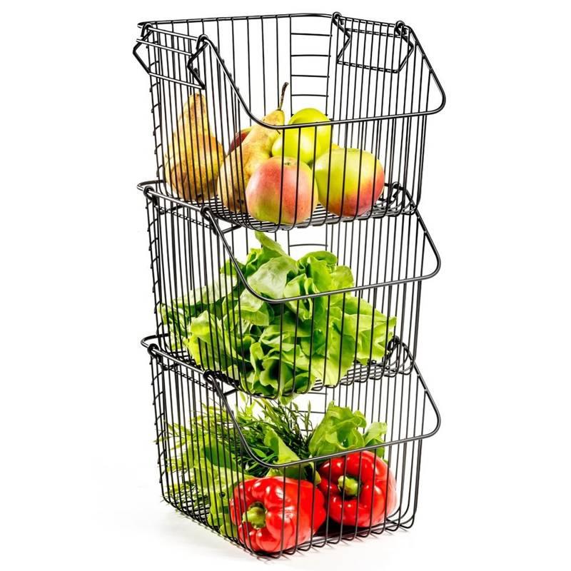 3x coș de fructe și legume, metal, negru, stivuibil, 29x27x21 cm