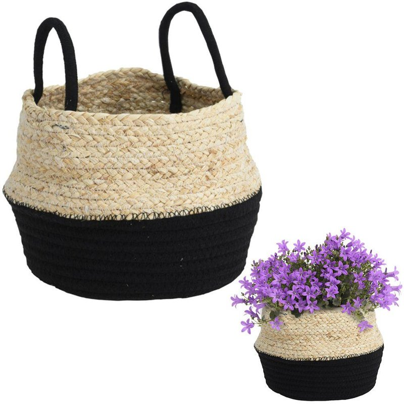 Carcasă, ghiveci, coș boho, negru, țesut, pentru ghiveci, flori, plante, 23x15 cm